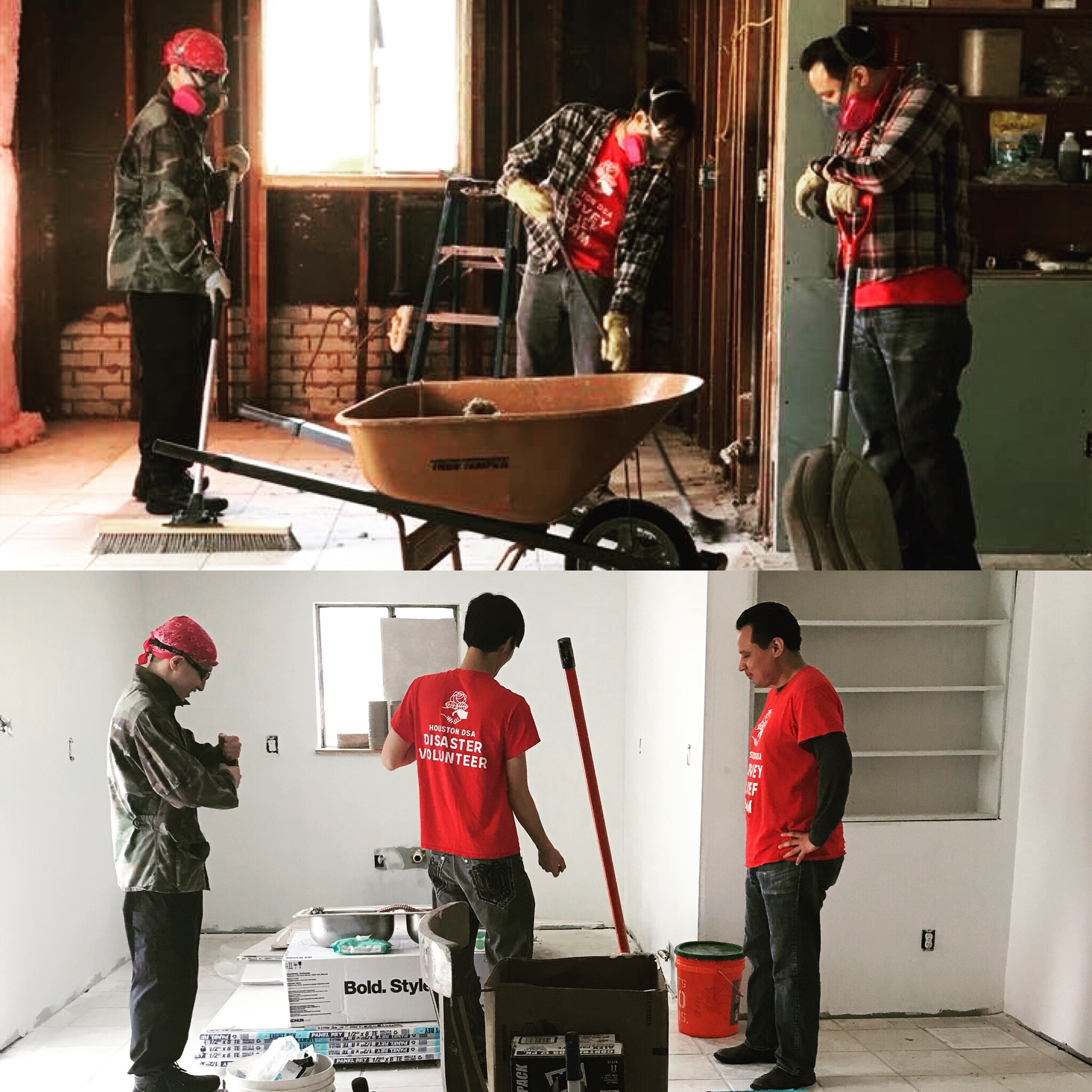 Top: Three Houston DSA members gut out a home. Bottom: The same three members finish work in the same home, now with walls replaced.